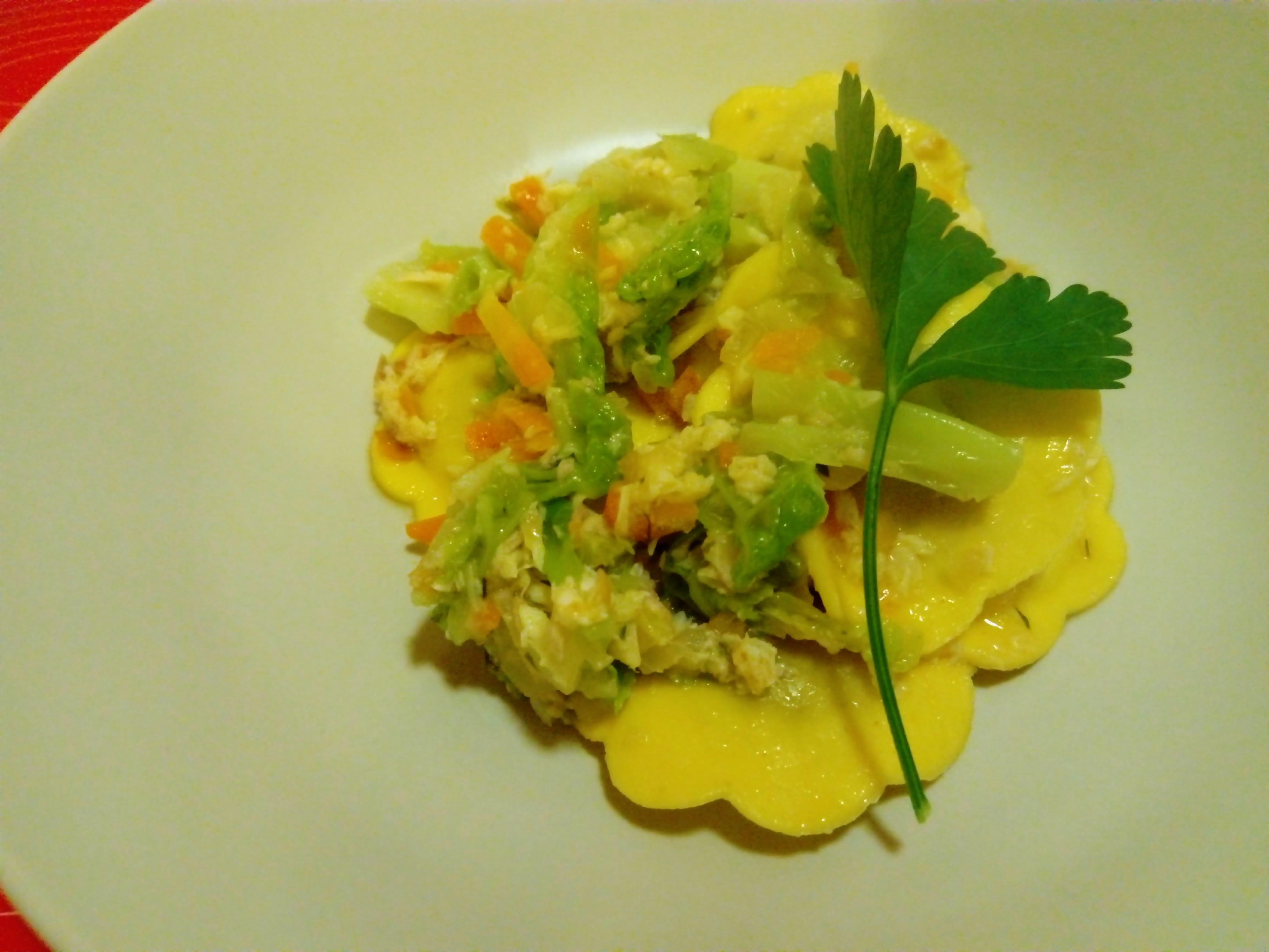 マスとキャベツの野菜ベース トルテッリーニ
