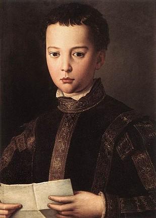 少年時代のフランチェスコ1世の肖像 アニョロ・ブロンズィーノ, 1551年頃 ウフィツィ美術館, フィレンツェ