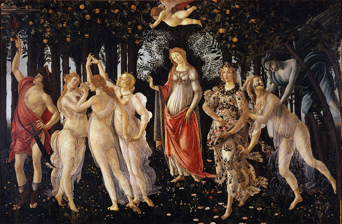 サンドロ・ボッティチェリ作「春(プリマヴェーラ)」まさに春の喜びが溢れた幸せいっぱいの名画!