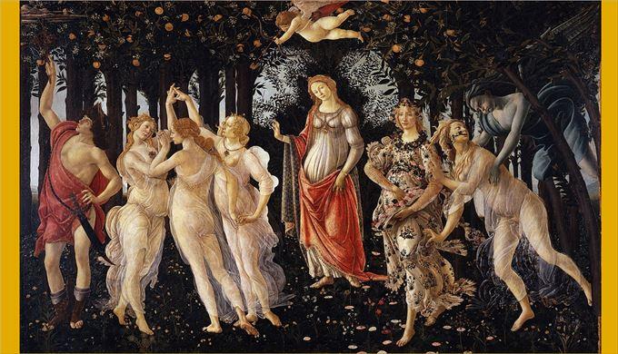 春(プリマヴェーラ) サンドロ・ボッティチェリ, 1482頃 ウフィツィ美術館, フィレンツェ