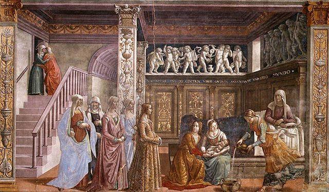 マリアの誕生 ドメニコ・ギルランダイオ, 1485-90 サンタ・マリア・ノヴェッラ大聖堂, フィレンツェ