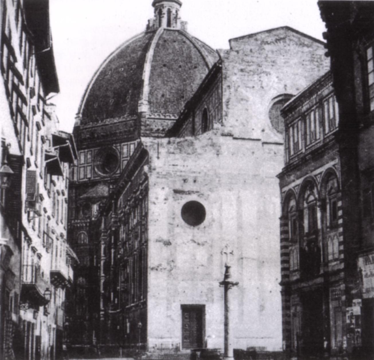 1860年のファサード Wikipedia「Facciata di Santa Maria Novella」より