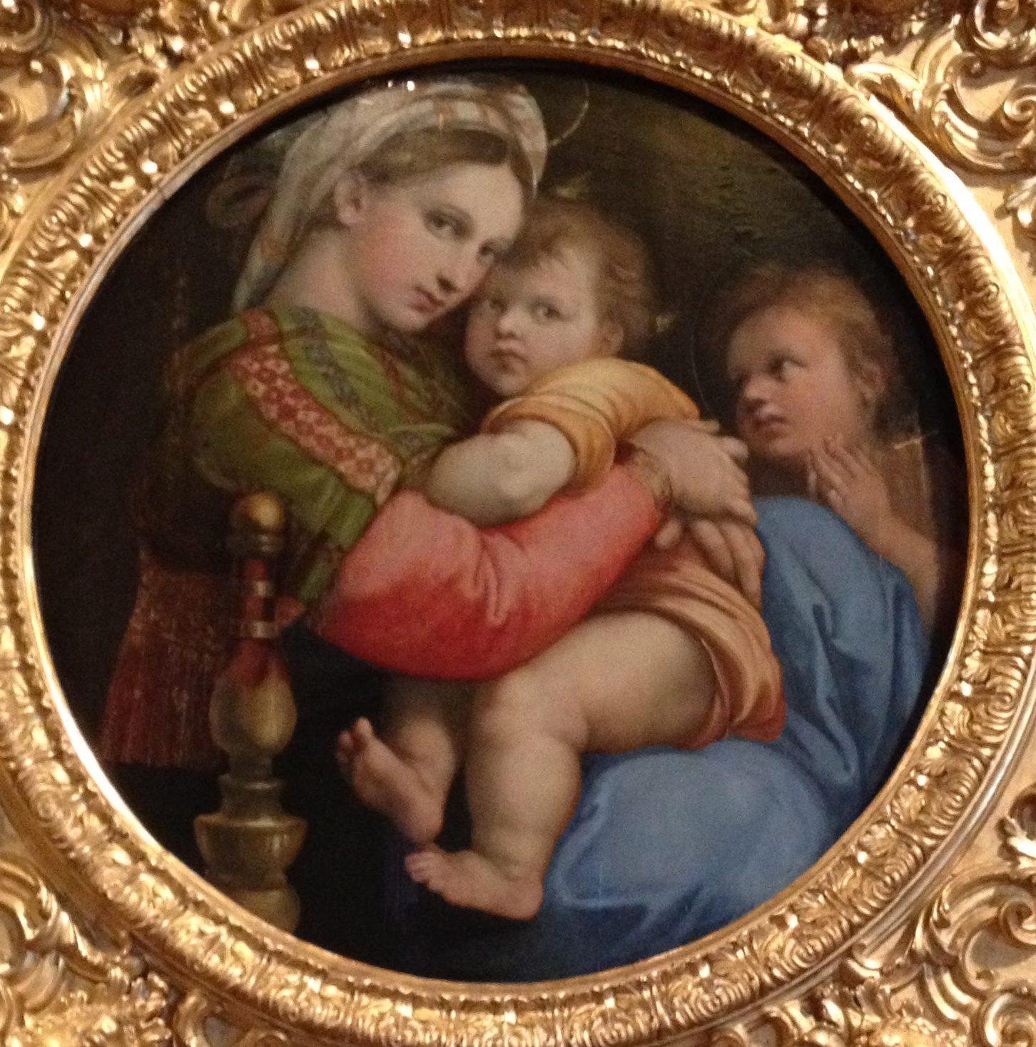 小椅子の聖母 ラファエロ・サンツィオ, 1513-14 パラティーナ美術館, フィレンツェ
