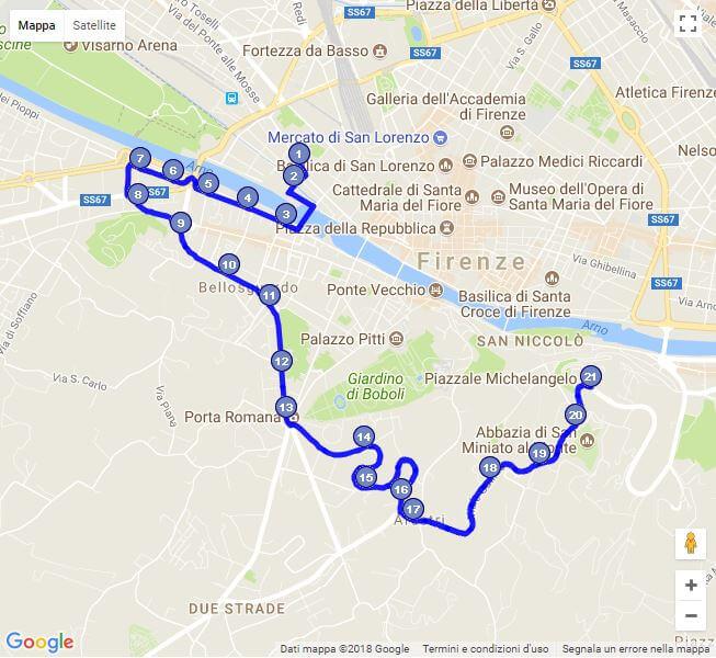 ミケランジェロ広場へ向かう12番のバスルート