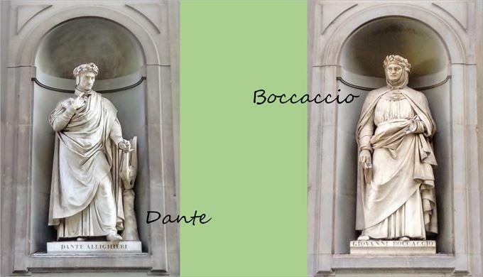 ウフィツィ美術館の外壁にあるダンテとボッカッチョの像
