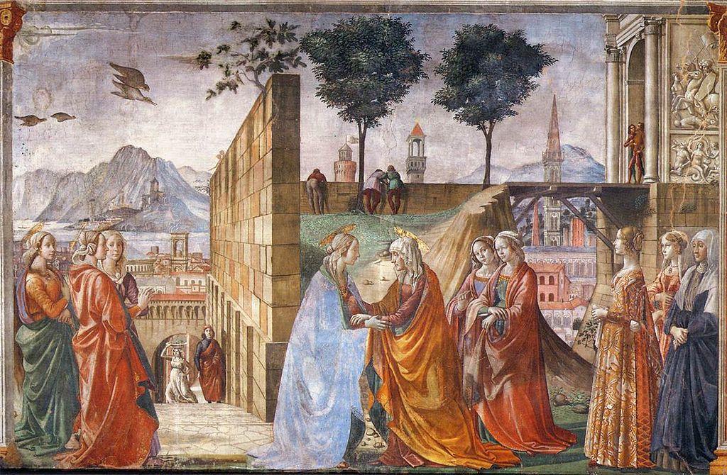 エリザベト訪問 ドメニコ・ギルランダイオ, 1485-90 サンタ・マリア・ノヴェッラ大聖堂, フィレンツェ
