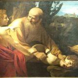 「イサクの犠牲」 カラヴァッジョ, 1603 ウフィツィ美術館, フィレンツェ