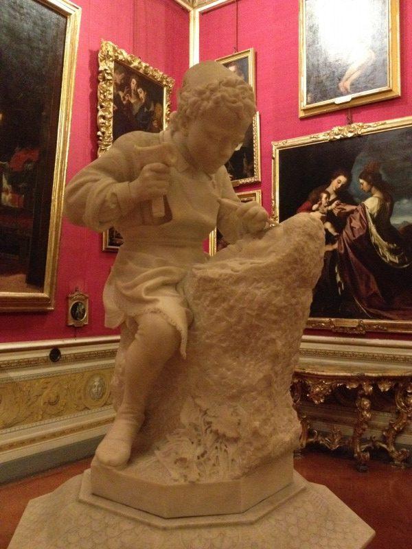 牧神を彫る少年ミケランジェロ エミリオ・ゾッキ, 1862 パラティーナ美術館, フィレンツェ