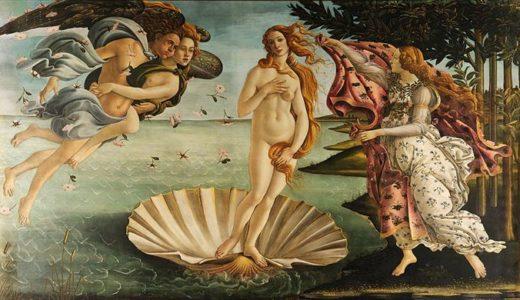 ヴィーナスの誕生 サンドロ・ボッティチェリ, 1483-1485 ウフィツィ美術館, フィレンツェ