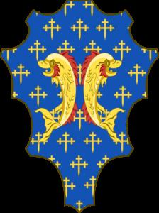 パッツィ家の紋章 背中合わせの2頭のイルカ、青地の背景には金色の十字の模様