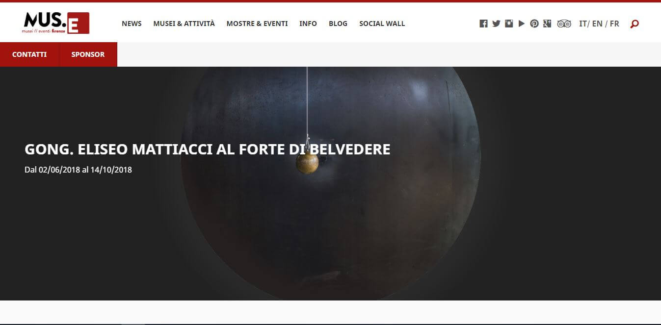 ベルヴェデーレ要塞2018年企画展『Eliseo Mattiacci at Forte di Belvedere』