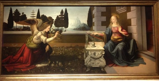 受胎告知 レオナルド・ダ・ヴィンチ, 1472頃 ウフィツィ美術館, フィレンツェ