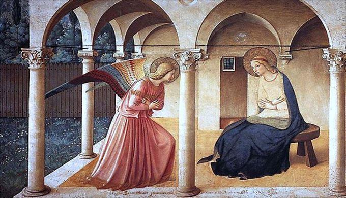 受胎告知 ベアート(フラ)・アンジェリコ, 1440-1450 サン・マルコ美術館, フィレンツェ