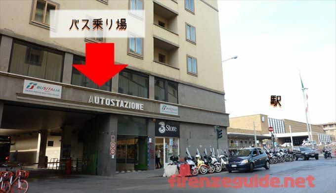 THE MALL行のバス バス乗り場 フィレンツェSMN駅からすぐです