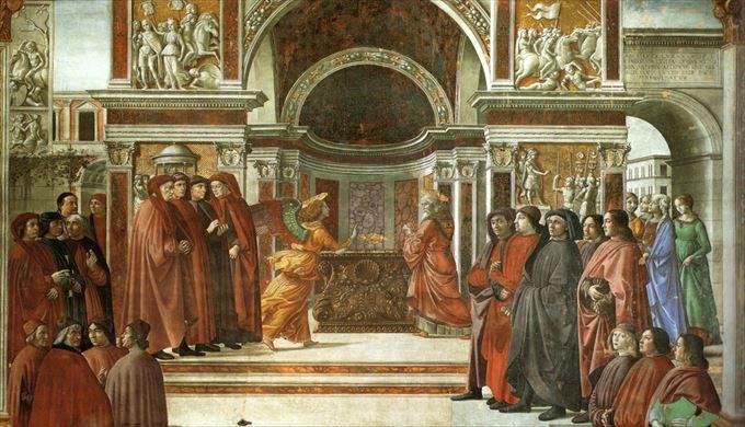 ヨハネの受胎告知 ドメニコ・ギルランダイオ, 1485-1490 フレスコ画 サンタ・マリア・ノヴェッラ教会, フィレンツェ