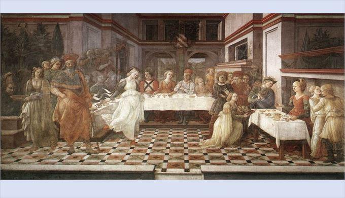 ヘロデ王の宴 フィリッポ・リッピ, 1452-1465 フレスコ画 サント・ステファノ大聖堂, プラート