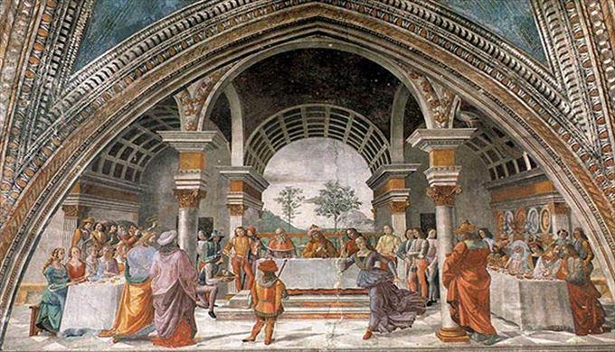 悔い改めの説教 ドメニコ・ギルランダイオ, 1485-1490 フレスコ画 サンタ・マリア・ノヴェッラ教会, フィレンツェ