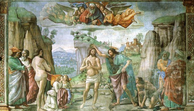 キリストの洗礼 ドメニコ・ギルランダイオ, 1485-1490 フレスコ画 サンタ・マリア・ノヴェッラ教会, フィレンツェ