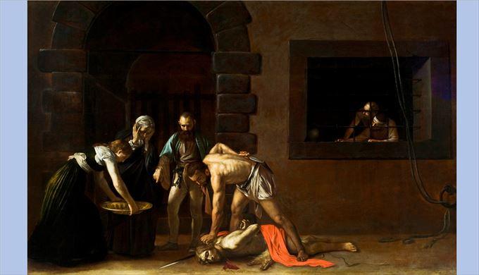 ヨハネの斬首 カラヴァッジョ, 1608 キャンバスに油彩 聖ヨハネ准司教座聖堂, ヴァレッタ(マルタ)