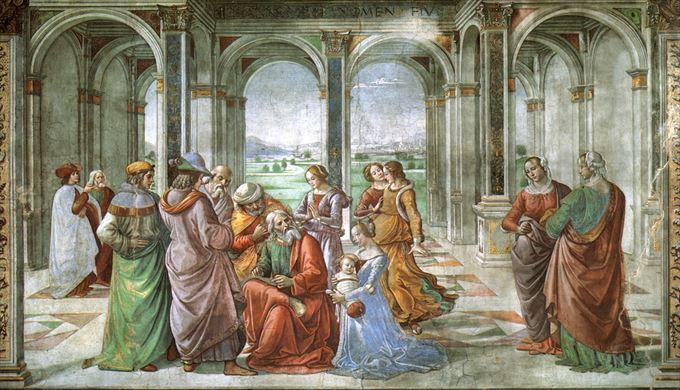 ヨハネの誕生 ドメニコ・ギルランダイオ, 1485-1490 フレスコ画 サンタ・マリア・ノヴェッラ教会, フィレンツェ