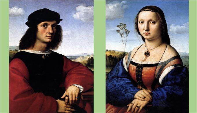 アニョロ・ドーニとマッダレーナ・ストロッツィの肖像 ラファエロ・サンツィオ, 1506頃 ウフィツィ美術館, フィレンツェ