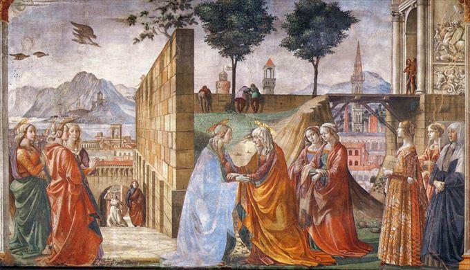 マリアのエリザベト訪問 ドメニコ・ギルランダイオ, 1485-1490 フレスコ画 サンタ・マリア・ノヴェッラ教会, フィレンツェ