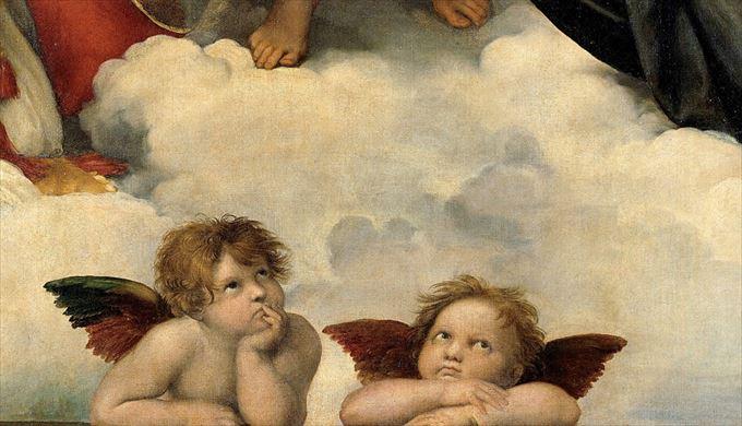システィーナの聖母(部分) ラファエロ・サンツィオ, 1513-14頃 アルテ・マイスター絵画館, ドレスデン