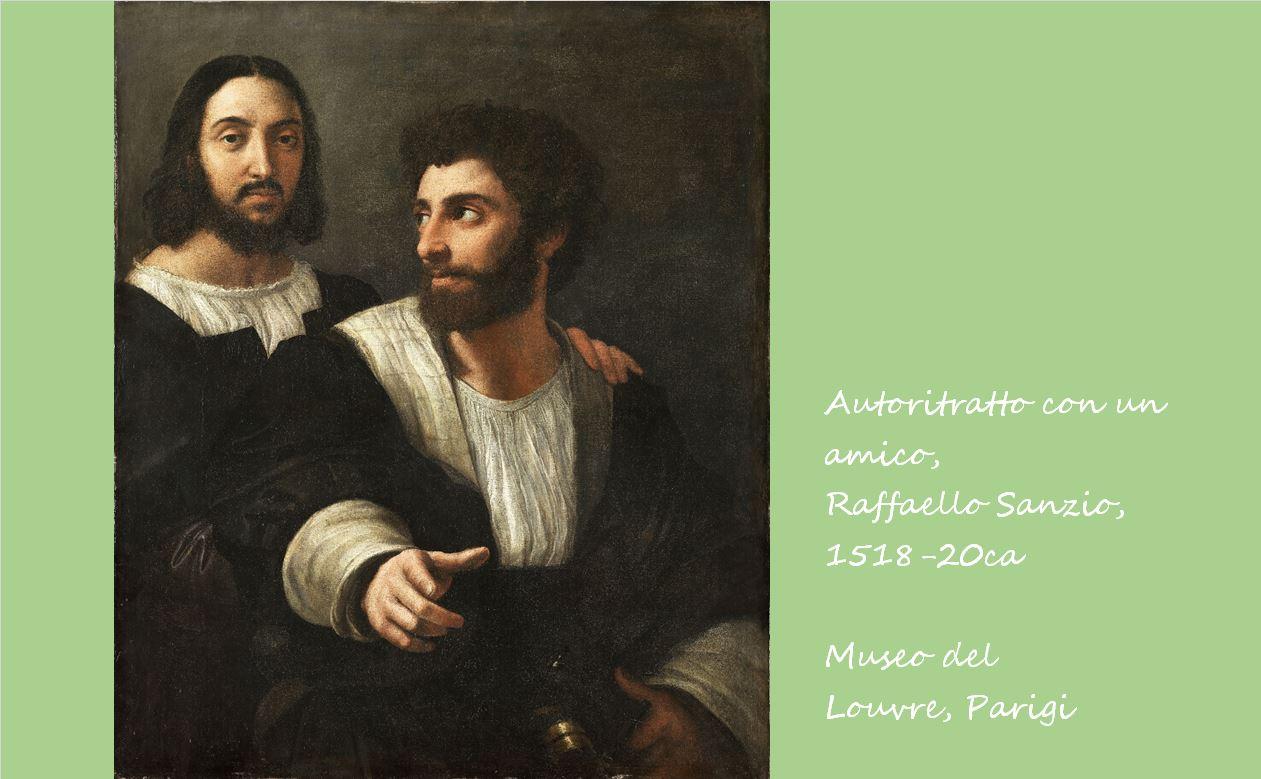 友人といる自画像 ラファエロ・サンツィオ, 1518-20頃 ルーブル美術館, パリ