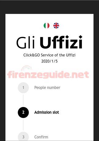 ウフィツィ美術館無料入場日の整理券オンライン入手「CLICK&GO」スマホ画面