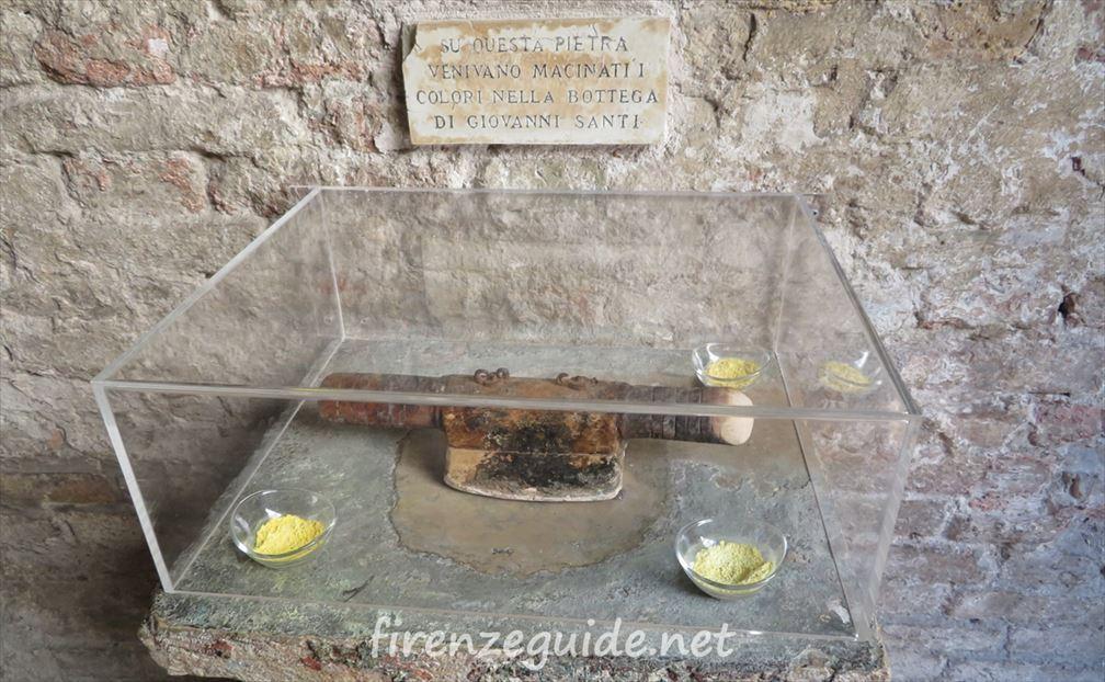 ラファエロの生家 ジョヴァンニが使っていた顔料を作るための台